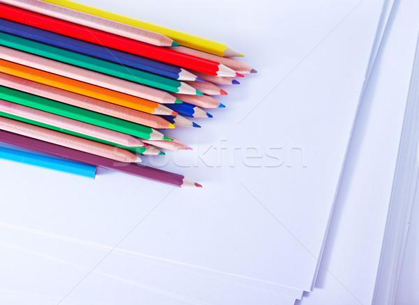 Színesceruza fa iskola festék ceruza háttér Stock fotó © tycoon