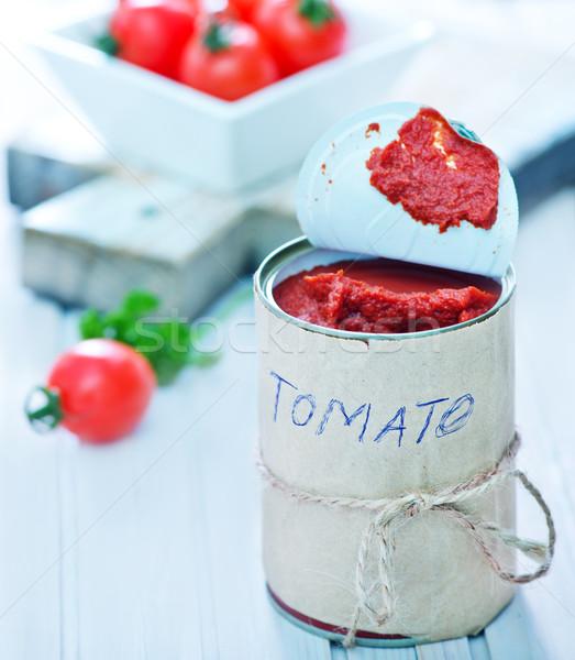Tomatensaus metaal bank tabel voedsel zomer Stockfoto © tycoon