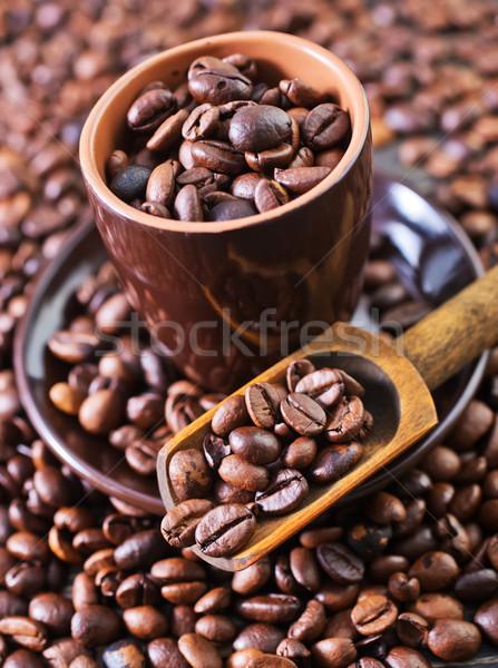 Kahve çekirdekleri ahşap masa bıçak zemin kahvaltı bağbozumu Stok fotoğraf © tycoon