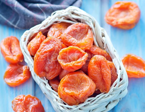 Drogen abrikoos kom tabel voedsel hout Stockfoto © tycoon