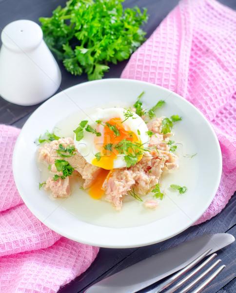 Tonijn ei vis zomer plaat witte Stockfoto © tycoon