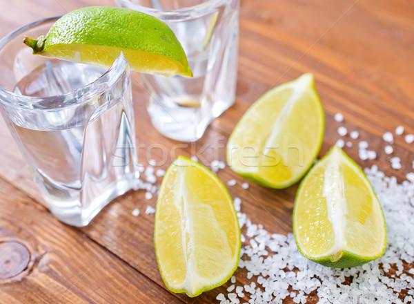 Sal tequila alimentos fiesta madera vidrio Foto stock © tycoon