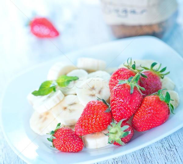 Foto stock: Morango · banana · fresco · comida · vermelho
