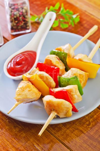 Kebap arka plan yeşil tavuk akşam yemeği plaka Stok fotoğraf © tycoon