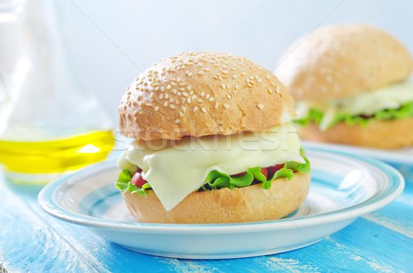 чизбургер продовольствие обеда сэндвич томатный стейк Сток-фото © tycoon