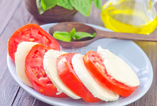 Сток-фото: Салат · моцарелла · томатный · продовольствие · зеленый · нефть