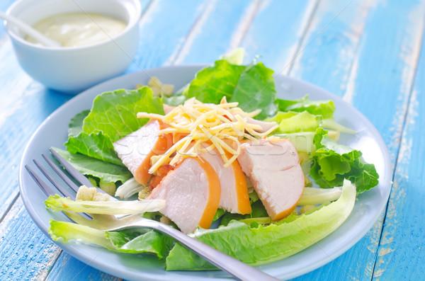 Taze salata tavuk peynir gıda yaprak Stok fotoğraf © tycoon