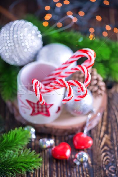 クリスマス 装飾 キャンディ 白 ガラス 表 ストックフォト © tycoon