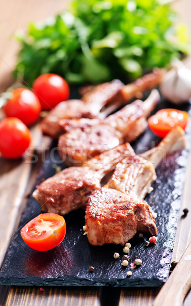 Stock photo: Rack of lamb fried with aromatic olive oil