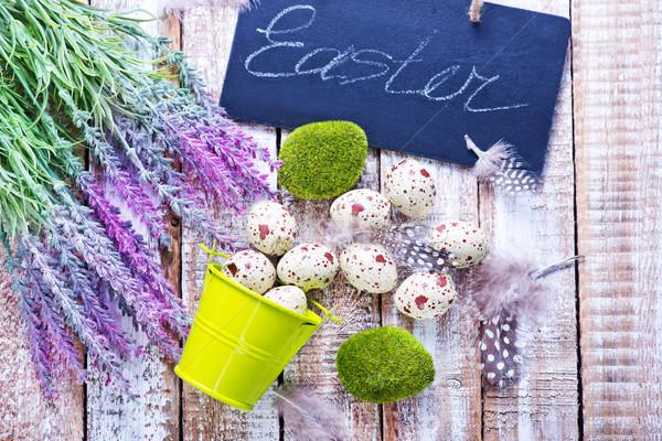 Ostereier Farbe Tabelle Ostern Himmel Blume Stock foto © tycoon