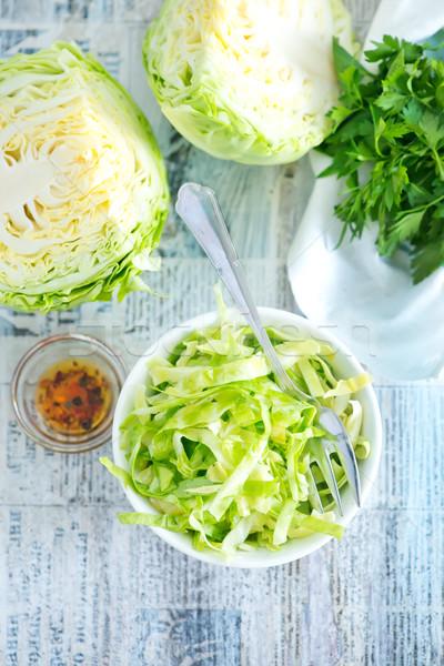 Káposzta saláta salátástál asztal étel fa Stock fotó © tycoon