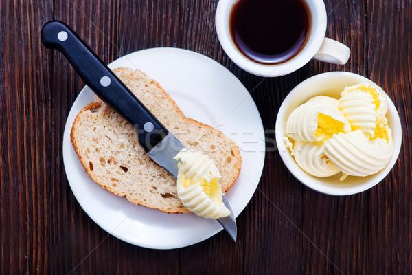 Burro pane colazione tavola carta grasso Foto d'archivio © tycoon