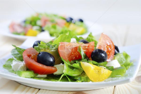 Yunan salata gıda ışık yaprak yeşil Stok fotoğraf © tycoon