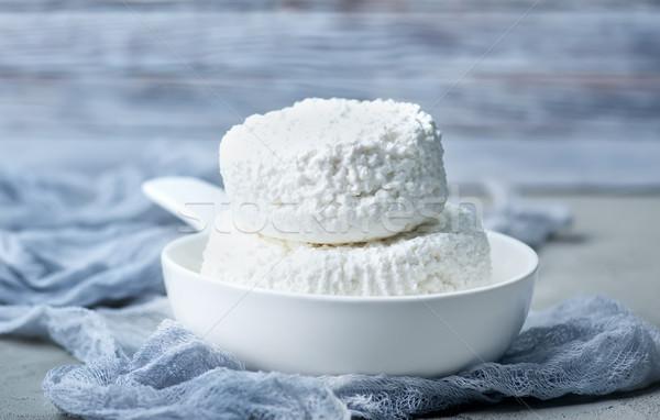 コテージチーズ プレート 表 食品 葉 ガラス ストックフォト © tycoon