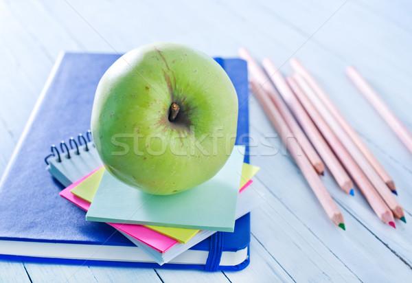 Materiale scolastico legno frutta matita frame spazio Foto d'archivio © tycoon