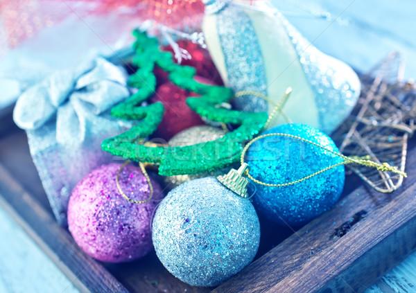 Stock fotó: Karácsony · dekoráció · doboz · asztal · terv · háttér