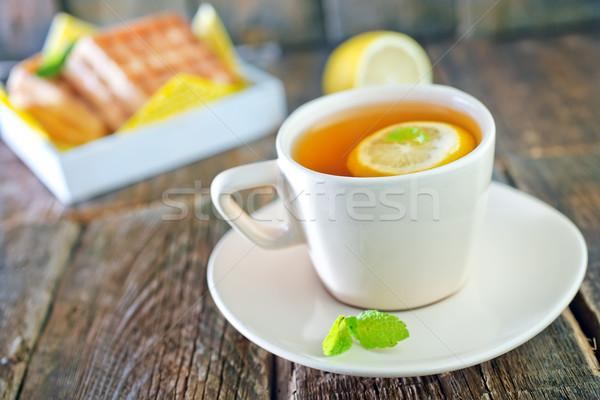 чай лимона вафельный Sweet таблице торт Сток-фото © tycoon