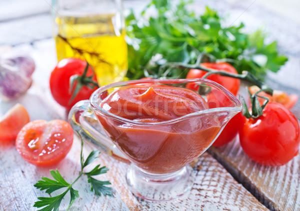 Sauce tomate alimentaire bois pâtes tomate déjeuner Photo stock © tycoon