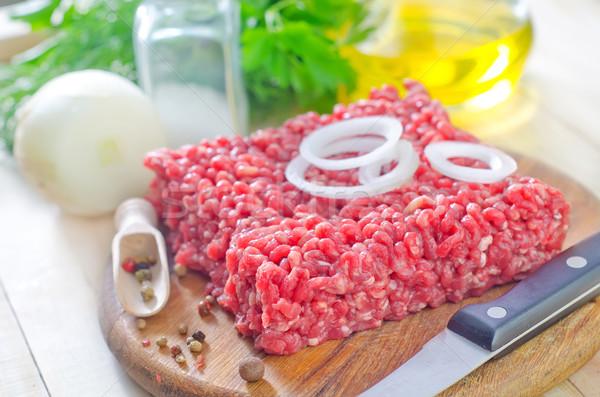 Hús étel asztal kövér fehér tábla Stock fotó © tycoon