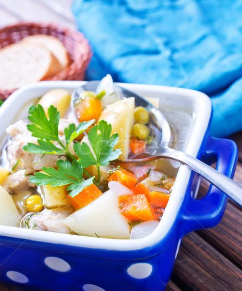 Fresche zuppa alimentare pasta carne liquido Foto d'archivio © tycoon
