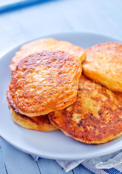 Krep peynir kek akşam yemeği plaka yeme Stok fotoğraf © tycoon