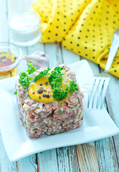 Fleisch tar Eigelb Platte Ei Mittagessen Stock foto © tycoon