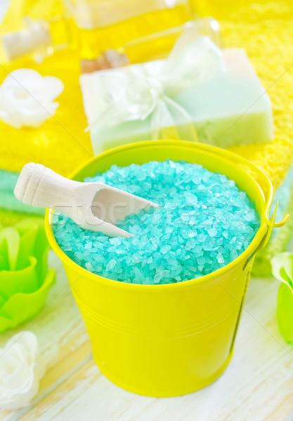 Aroma zout zeep lichaam Blauw spa Stockfoto © tycoon