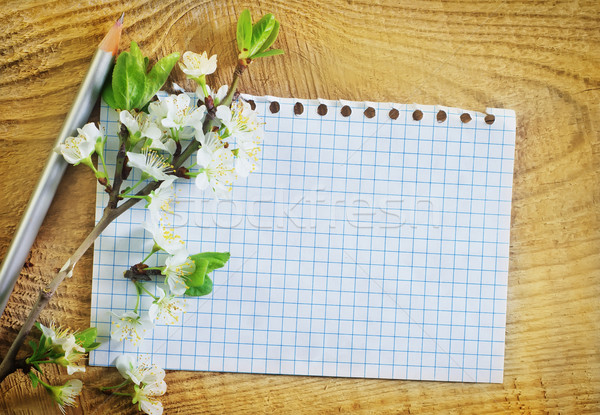 flowers and note on wooden background Stock photo © tycoon