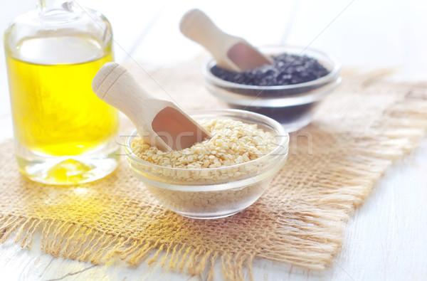 Blanc noir sésame alimentaire cuisine table pétrolières Photo stock © tycoon