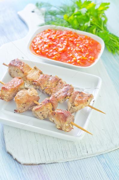Kebab étel zöld vacsora piros kövér Stock fotó © tycoon