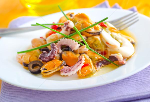 Salade fruits de mer poissons vert fourche asian Photo stock © tycoon