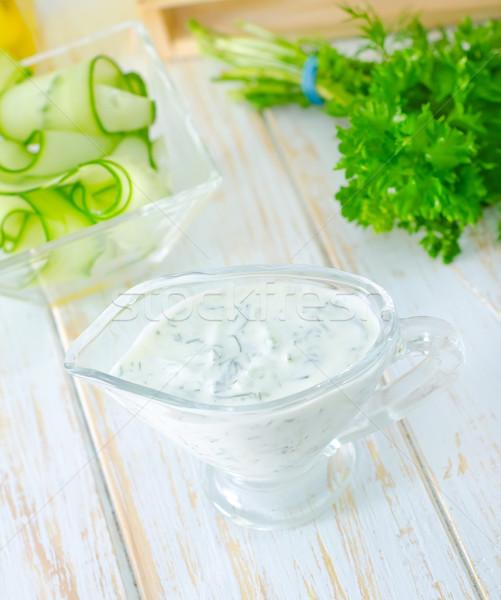 Beyaz sos gıda salata biber sebze Stok fotoğraf © tycoon