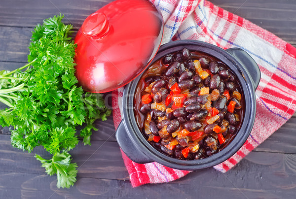 black beans with chili Stock photo © tycoon