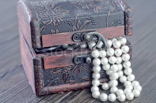 Old wooden chest with perl Stock photo © tycoon
