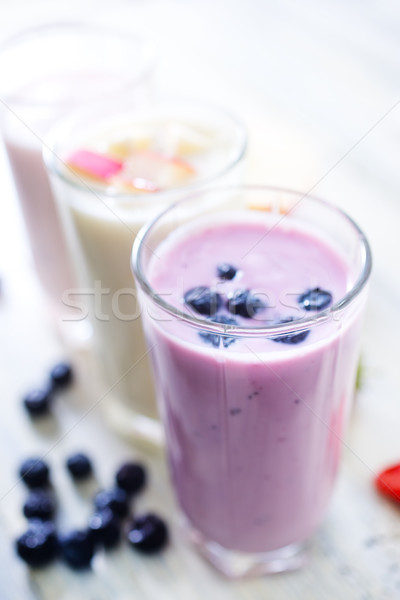 Foto stock: Iogurte · fresco · vidro · tabela · café · da · manhã