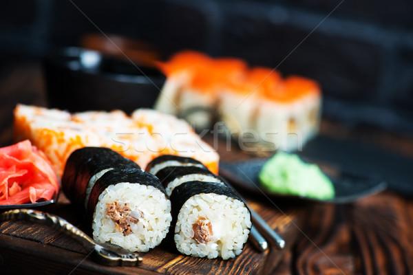 Szusi wasabi gyömbér asztal vacsora tea Stock fotó © tycoon
