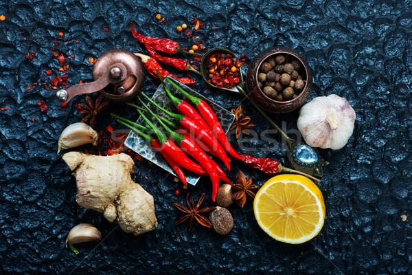 Aroma Spice olie voedsel hout keuken Stockfoto © tycoon