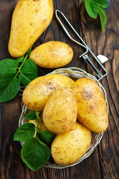 Ruw aardappel mand tabel voedsel natuur Stockfoto © tycoon
