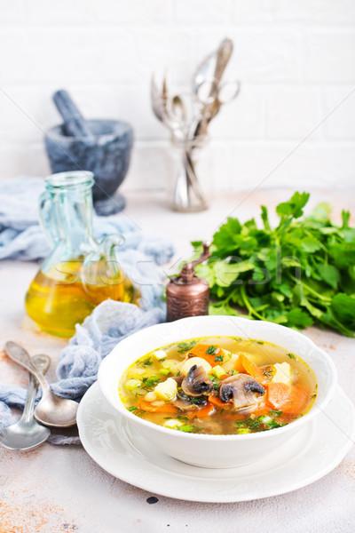 Stock fotó: Friss · leves · zöldségek · gombák · pázsit · fa