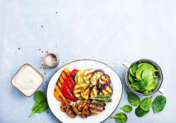 Grelhado legumes molho prato estoque foto Foto stock © tycoon