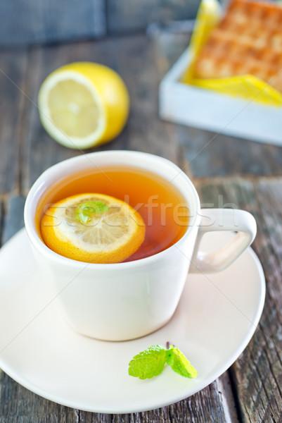 Tè limone cialda dolce tavola torta Foto d'archivio © tycoon