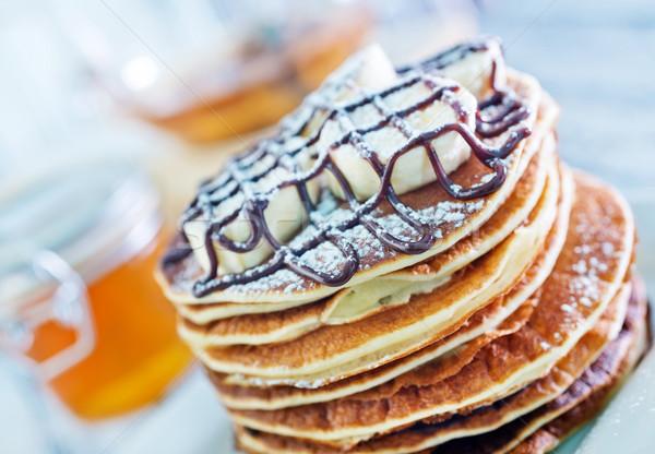 Stock fotó: Palacsinták · banán · csokoládé · főzés · desszert · eszik