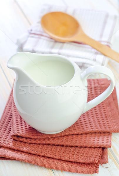 Frischmilch Glas Kuh Tabelle trinken Markt Stock foto © tycoon