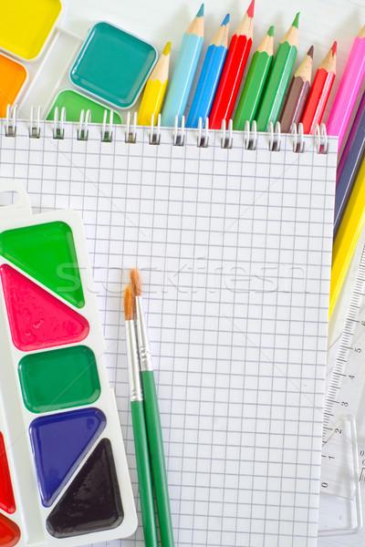 Schoolbenodigdheden kantoor textuur hout school pen Stockfoto © tycoon