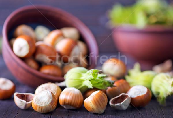 Mogyoró kép fából készült tál rusztikus étel Stock fotó © tycoon