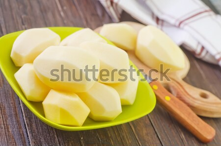 生 ジャガイモ 食品 自然 ナイフ 白 ストックフォト © tycoon