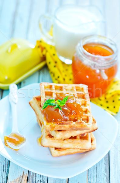 Albaricoque atasco placa alimentos frutas frutas Foto stock © tycoon