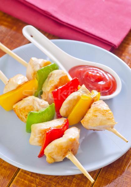 Kebab étterem zöld tányér paradicsom fehér Stock fotó © tycoon