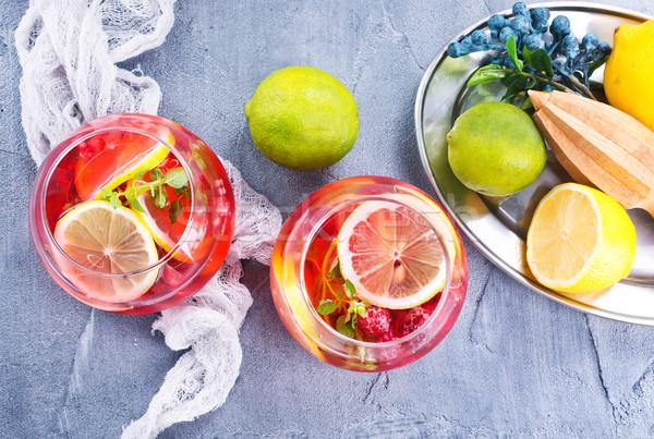 Málna asztal stock fotó üveg nyár Stock fotó © tycoon
