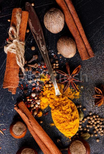 Aroma fűszer fokhagyma só asztal étel Stock fotó © tycoon